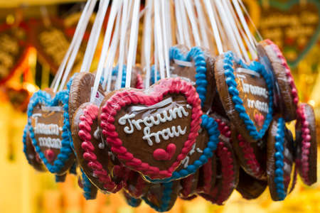 Christmas market in Wuppertal-Barmen, Germany. On the gingerbread heart itsays dream woman and dream man