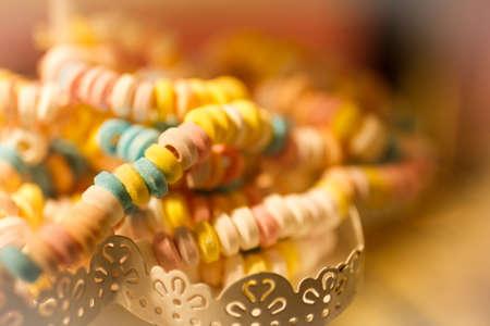 Nostalgic sugar chain in a candy store.