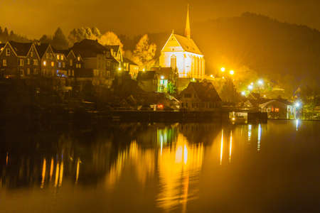 Old Beyenburg in Wuppertal at night, Germany