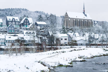 Old Beyenburg in the snow, Wuppertal, Germany Stock Photo