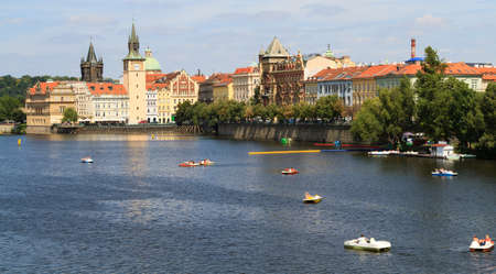 View on the Vltava river in Prague