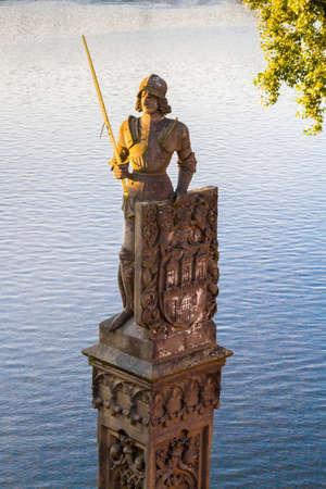 Bruncvik statue on the Charles Bridge in Prague.