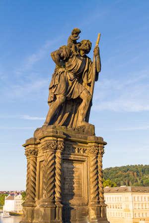 Religious statue at Charles Bridge Prague Standard-Bild