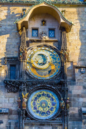 The famous city hall clock in the old town of Prague.