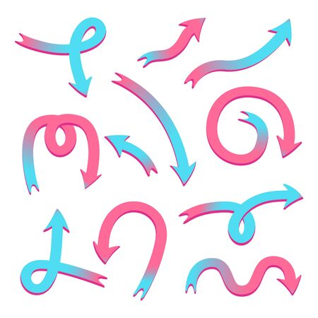 Bright funny arrows. A pack of elements for the design of websites, posters, advertising, etc. Blue and pink vector cursors on a transparent background. 일러스트