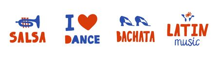 Set of hand drawn red and blue stickers. Lettering and elements on the theme of Latin dances and music. Can be used for salsa, bachata, etc.