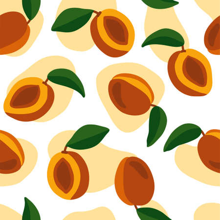 Hand-drawn seamless pattern with peaches. Juicy orange fruits on a transparent background. Bright and stylish illustration for packaging, cards, digital design.