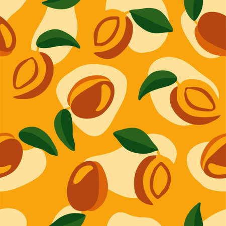 Bright orange seamless pattern. Juicy and tasty peaches. Smooth and soft forms. Illustration for postcards, packaging, design, product, etc.