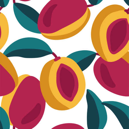 Beautiful yellow and red peaches. Seamless pattern with juicy fruits on a transparent background. Bright contrasting colors. Illustration for cards, packaging, design, etc. Ilustrace