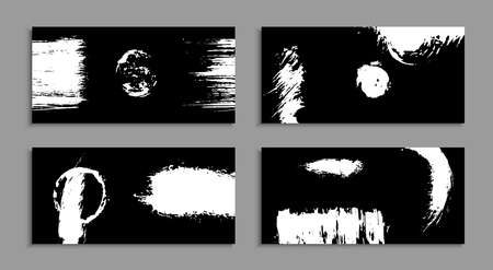 White torn ink stains on a black background. Unusual art business cards. A set of handmade templates for design. Abstract ink blots. Horizontal banners, business cards. Modern vector illustration.