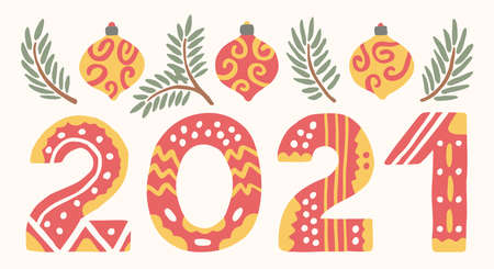 Christmas card with the words 2021. Cute flat illustration. Xmas decorations and tree branches. Simple greeting banner.