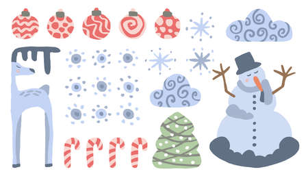 Set of Xmas objects on a white background. Balls, snowflakes, Christmas candies, spruce, clouds, snowman, deer. Cute vector illustration. Blue and red colors. Isolated objects for design. Vettoriali