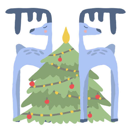 Cute Christmas card. Blue deer and Xmas tree with lights. Simple illustration in flat style. New Year postcard for banner and print.