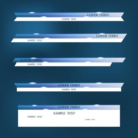 Set van blauwe banners van lagere derde.