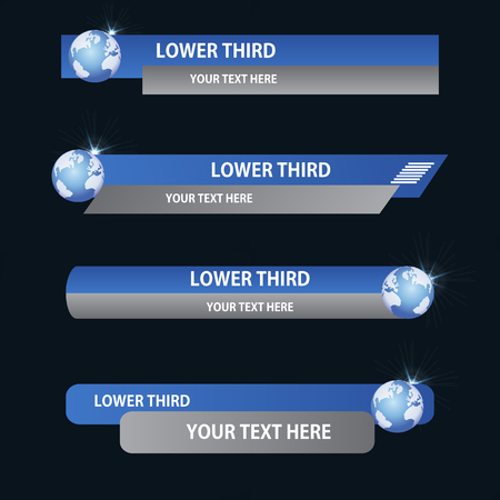 Set of blue and gray banners  of  lower third with globes. Vector illustration.