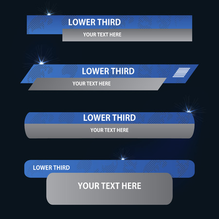 Set of blue and gray banners against a dark background of  lower third. Vector illustration.