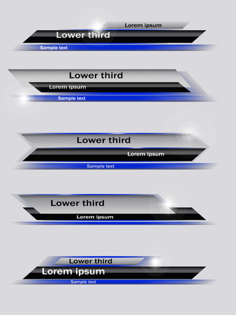 Set of blue, black, gray banners of lower third. Vector illustration. Vetores
