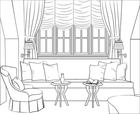 Outline drawing of the interior room - a window, sofa with cushions, two tables and sconces, and a armchair. Vector illustration.
