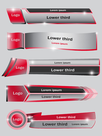 Set of red, black, gray banners of lower third. Vector illustration.