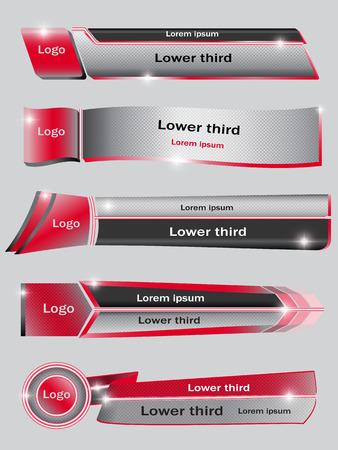 Zestaw czerwonych, czarnych, szarych transparentów niższej trzeciej. Ilustracji wektorowych. Ilustracje wektorowe