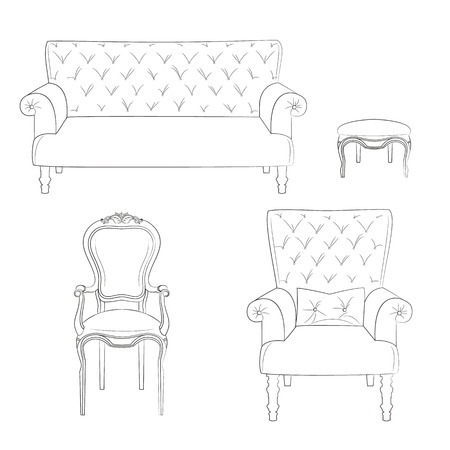 Sketch of a set of upholstered furniture - sofa, stool, chair and armchair. Vector illustration.