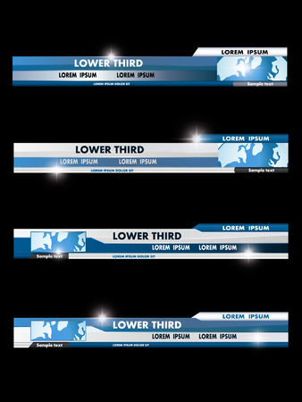 Set of blue, black, gray and white banners of lower third. Vector illustration. Stock Illustratie