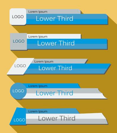 Zet banners Lower Third in de blauwe, grijze en witte kleuren op een gele achtergrond. Vector illustratie.