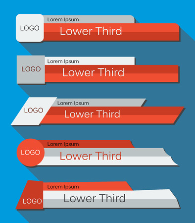 Set  banners Lower Third in the  red, gray and white colors on a blue  background. Vector illustration. Vettoriali
