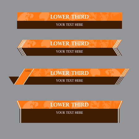 Set of brown and light brown banners against a gray  background of  lower third. Vector illustration.