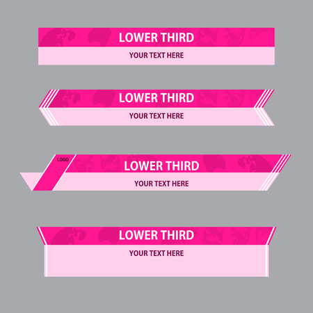 Set of crimson and pink banners against a gray  background of  lower third. Vector illustration. Иллюстрация