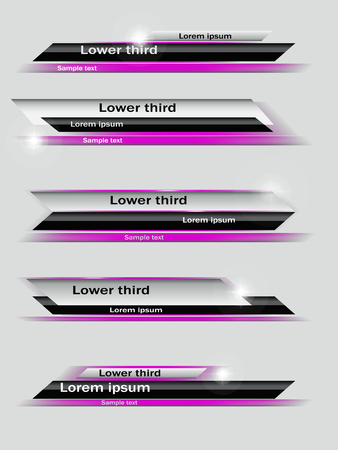 ine: Set of violet,  black, gray banners of lower third. Vector illustration. Illustration