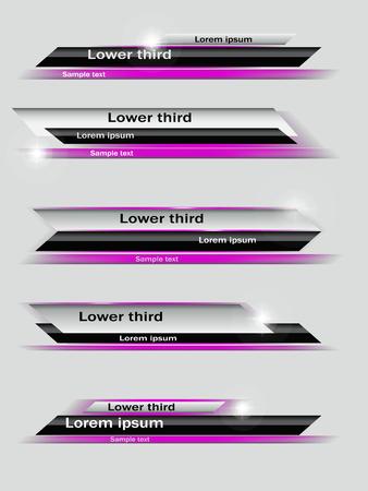 Set of violet,  black, gray banners of lower third. Vector illustration. Illusztráció
