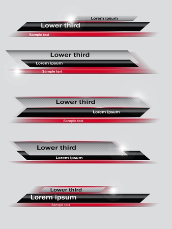 ine: Set of red, black, gray banners of lower third. Vector illustration.