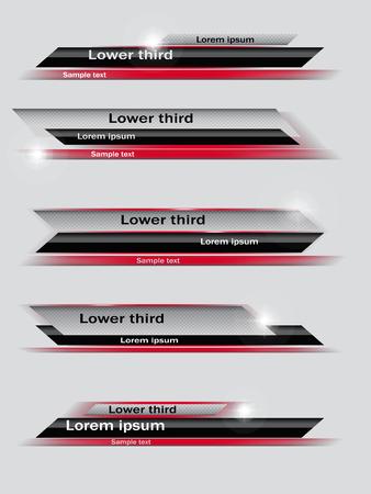 Set van rode, zwarte, grijze banners van lagere derde. Vector illustratie.