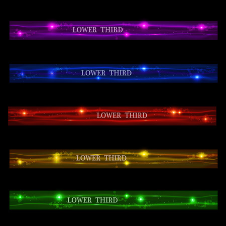 Conjunto de bandeiras brilhantes inferior terceiro roxo, azul, vermelho, amarelo e verde sobre um fundo preto. Ilustração vetorial Ilustración de vector