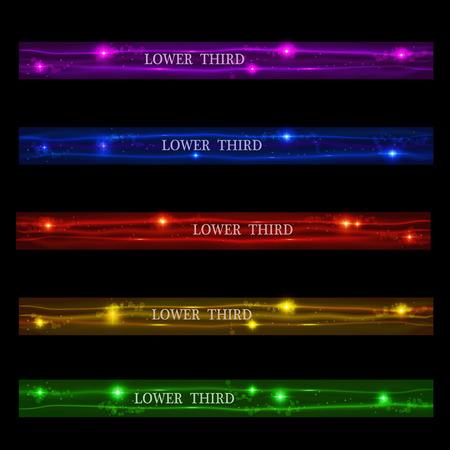 Définir des bannières rougeoyantes inférieure troisième violet, bleu, rouge, jaune et vert sur un fond noir. Illustration vectorielle Vecteurs