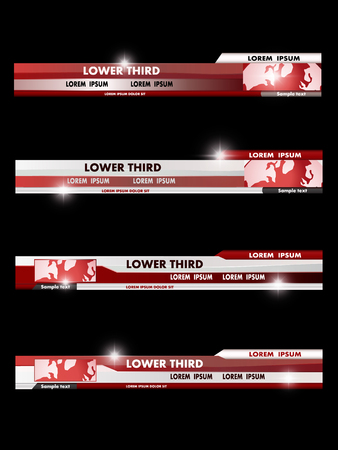 Set of red, black, gray and white banners of lower third. Vector illustration.