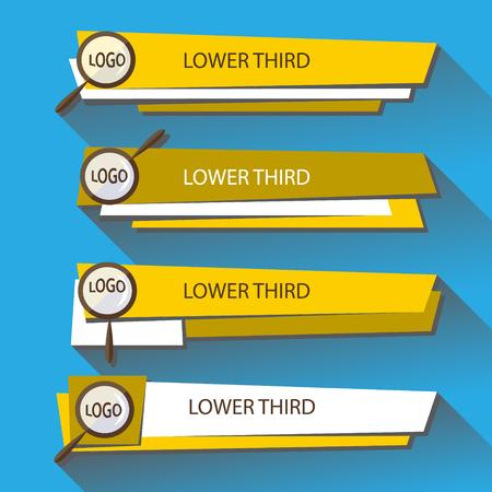 Establecer banners Lower Third en los colores amarillo y blanco sobre fondo azul. Ilustración vectorial