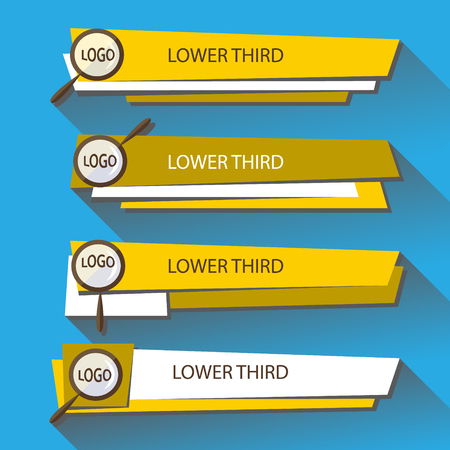 Set  banners Lower Third in the yellow and white colors on a blue background. Vector illustration. Ilustrace