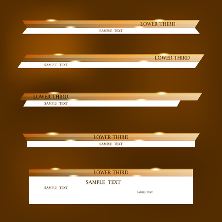 Set of brown and white banners of lower third design template.