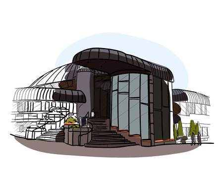 ownerships: Architectural color vector sketch.