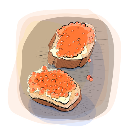 toasted: Color illustration of bread with butter on a plate.