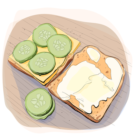 Color illustration of bread with butter on a plate.