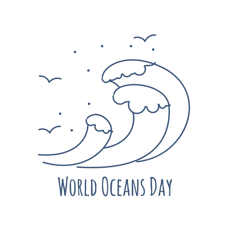 Vector image of the sea birds on wave. Illustration dedicated on World oceans day.