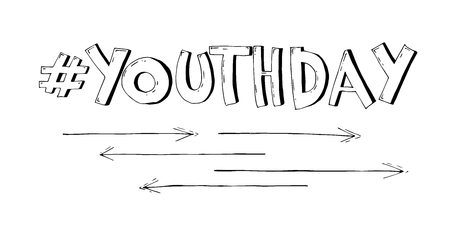 Stylish black and white vector text Youth Day on white background. Illustration in comic style.