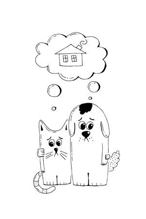 Het verlaten puppy en het katje, keuren, dierlijke wreedheid, hand getrokken illustratie goed. Droevig dakloos puppy en katje die een huis, vectorschets zoeken Stock Illustratie