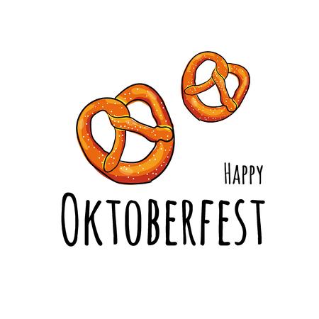 pretzel: Oktoberfest fest. Hand drawn Vector illustration of Oktoberfest attributes.
