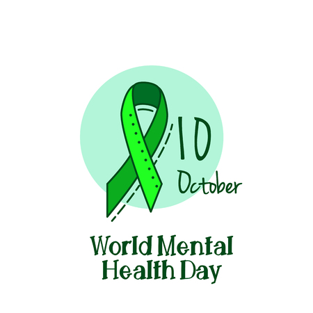 Mental health, hepatitis B and liver cancer or Non-Hodgkin lymphoma awareness Green Ribbon Background.