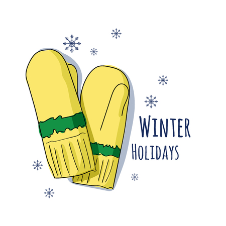 Winter mittens. Vector illustration for a postcard or a poster, print for clothes. New Years and Christmas postcard.