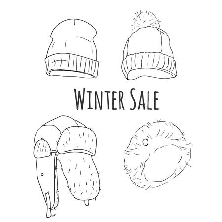 Hand drawn winter hats vector set. Illusztráció